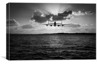Job done Lancaster seascape B&W version, Canvas Print