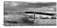 Downfall of a Bf109 black and white version, Canvas Print