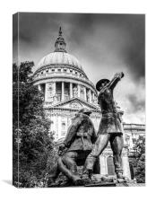 Blitz firefighters memorial grainy black and white, Canvas Print