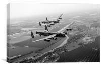 Two Lancasters over the upper Thames black and whi, Canvas Print