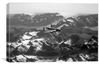 Lancaster over Greenland black and white version, Canvas Print