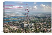 Red Arrows over Lincoln smoke on, Canvas Print