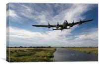 617 Squadron Dambusters Lancaster at low level, Canvas Print