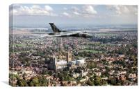 Avro Vulcan passing Lincoln Cathedral, Canvas Print
