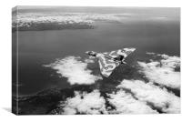Vulcan over South Wales black and white version, Canvas Print