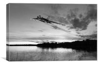 Vulcan low over a sunset lake sunset lake B&W vers, Canvas Print