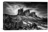 Tre Cime in the Dolomites , Canvas Print
