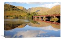 Loch Awe Railway bridge Reflection, Canvas Print