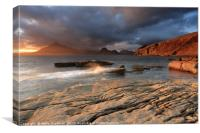 Splashing waves and the Cuillins at Sunset, Canvas Print