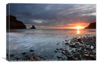 Talisker Bay and Spikes from the setting Sun, Canvas Print