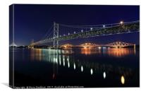 Scottish Steel in Silver and Gold lights at Night, Canvas Print
