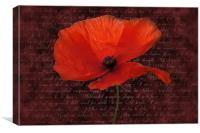 Red Poppy and Poem, Canvas Print