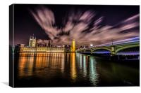Parliament and Westminster by Night, Canvas Print