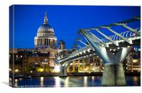 St Pauls Cathedral and the Millennium Bridge, Canvas Print