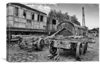The graveyard of trains black and white, Canvas Print