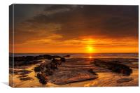 Setting sun at Croyde Bay, Canvas Print