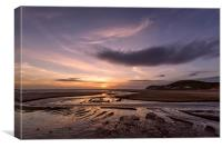 Croyde stream sunset, Canvas Print
