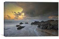 The rocks at Croyde Bay, Canvas Print