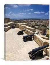 Medieval Battery and Cannons, Canvas Print
