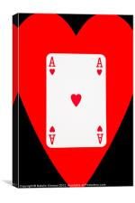 Ace of Hearts on Black, Canvas Print