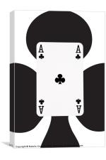 Playing Cards, Ace of Clubs on White, Canvas Print