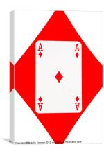 Playing Cards, Ace of Diamonds on White, Canvas Print