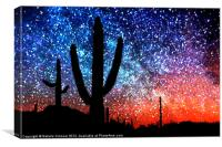 Digital Art Abstract - Desert Cacti and the Starry, Canvas Print