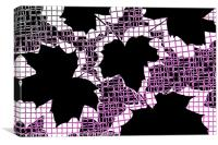 Abstract Leaf Pattern - Black White Pink, Canvas Print