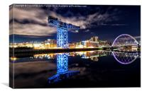 Finnieston Crane and Clyde Arc by night, Canvas Print