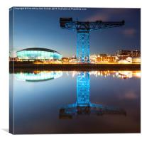 The Finnieston Crane and Hydro Dark Blue, Canvas Print
