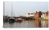 Waterfront Scene at Whitby, Yorkshire, Canvas Print
