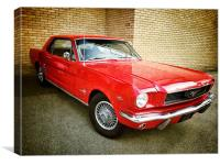 Red Mustang, Canvas Print