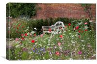Bench and Wildflowers, Canvas Print