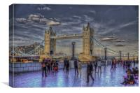Tower Bridge Tourists, Canvas Print