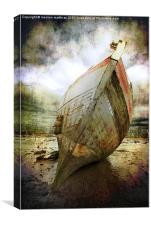 beached fishing boat, Canvas Print