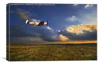 low flying evening spitfire, Canvas Print