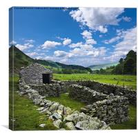 ceiriog valley sheep farming, Canvas Print