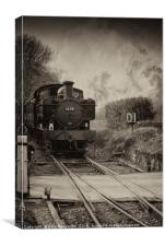 Kent and East Sussex Steam train in Sepia, , Canvas Print