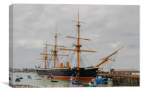HMS Warrior an iron clad warship in the Royal Navy, Canvas Print