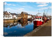 Burghead Harbour Summer Boats, Canvas Print