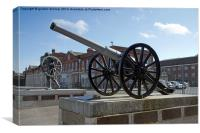 Field Gun at Portsmouth Royal Dockyards, Canvas Print