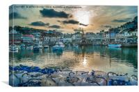 Brixham Harbour with a Setting Sun, Canvas Print