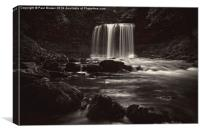Sgwd yr Eira, Falls of Snow in Black and White, Canvas Print