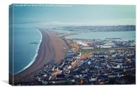 Chesil Beach from Portland Heights at Sunrise, Canvas Print