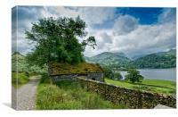 View of Ullswater and mountains, Canvas Print