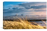 Redcar steelworks across the River Tees, Canvas Print