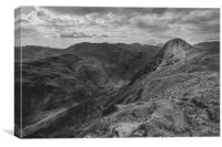 View of Pike o' Stickle and Crinkle Crags black, Canvas Print