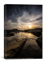 Sunset over a rock pool, Canvas Print