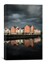 Darkening skies on the Exe, Canvas Print