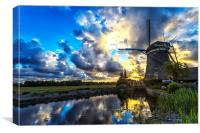Sunset over the windmill, Canvas Print